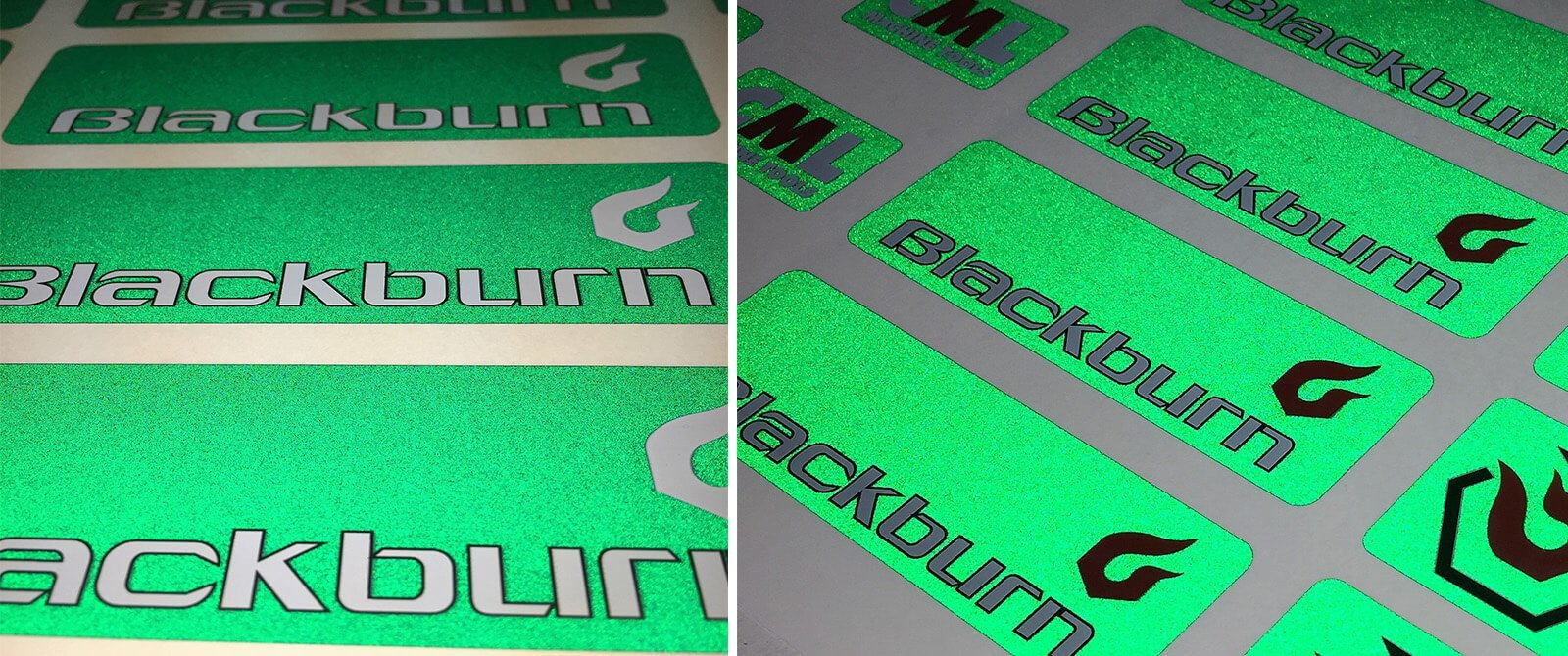 green reflective recycling stickers