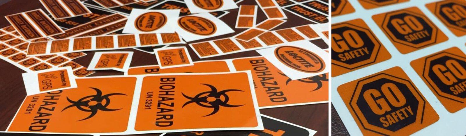 Orange reflective Contruction Stickers